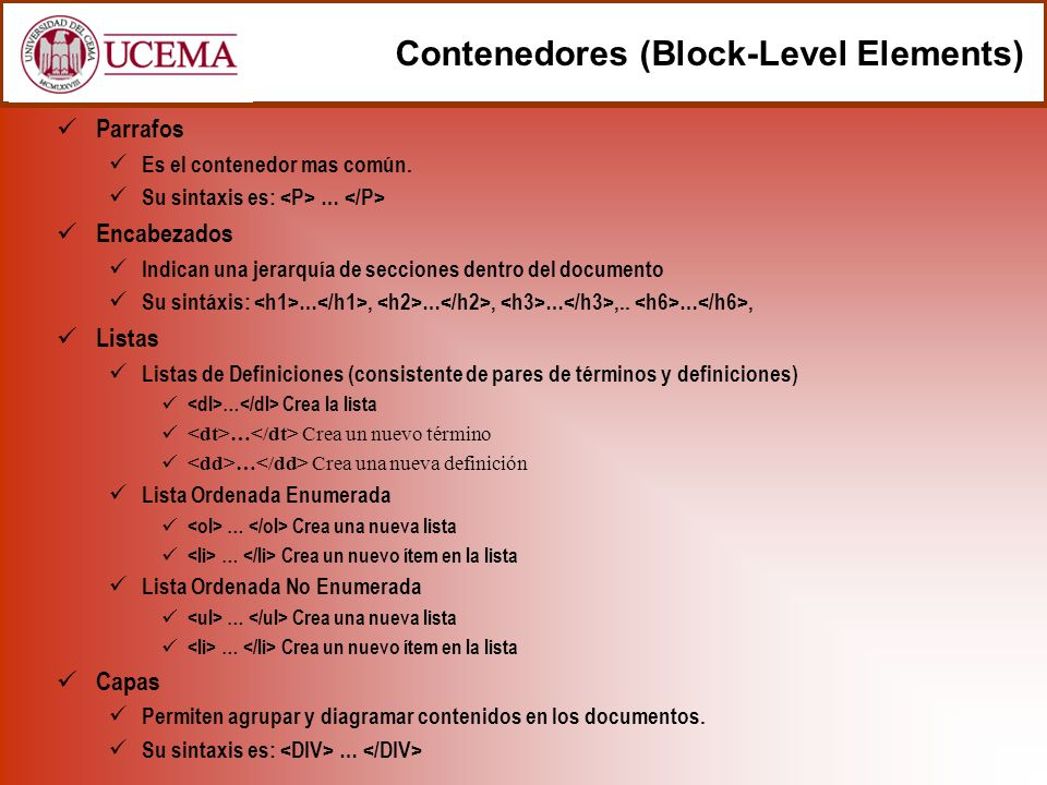 Contenedores (Block-Level Elements)