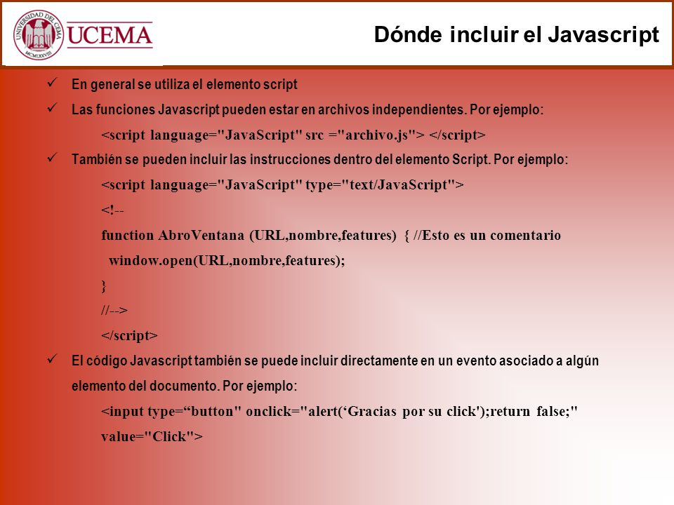 Dónde incluir el Javascript