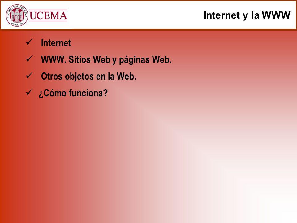 Internet y la WWW Internet WWW. Sitios Web y páginas Web. Otros objetos en la Web. ¿Cómo funciona