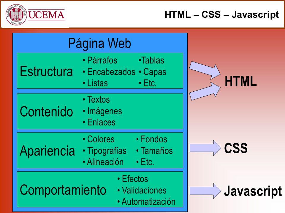 Página Web Estructura HTML Contenido Apariencia CSS Comportamiento