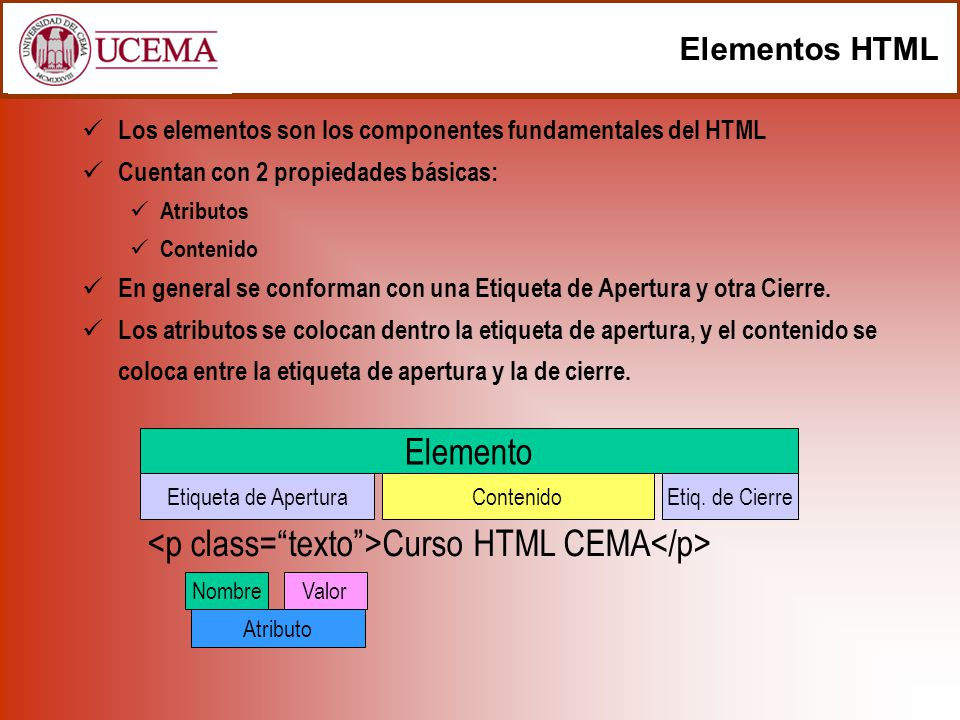 <p class= texto >Curso HTML CEMA</p>