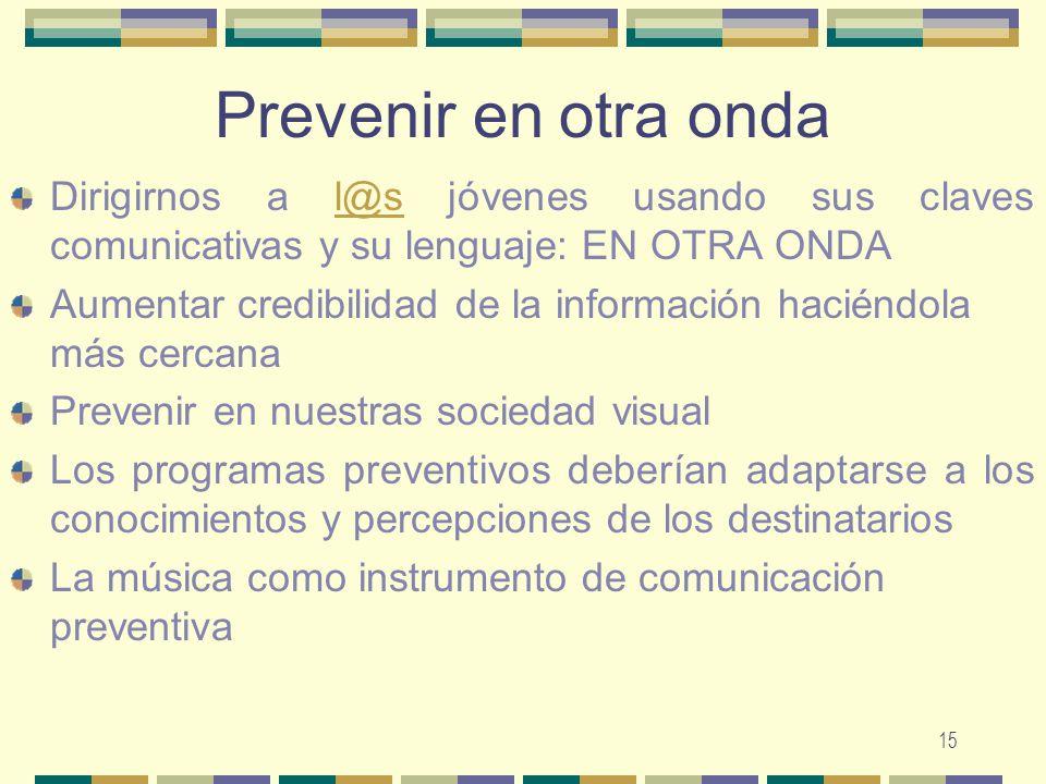 Prevenir en otra onda Dirigirnos a l@s jóvenes usando sus claves comunicativas y su lenguaje: EN OTRA ONDA.