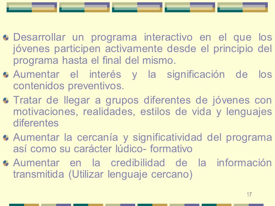 Desarrollar un programa interactivo en el que los jóvenes participen activamente desde el principio del programa hasta el final del mismo.