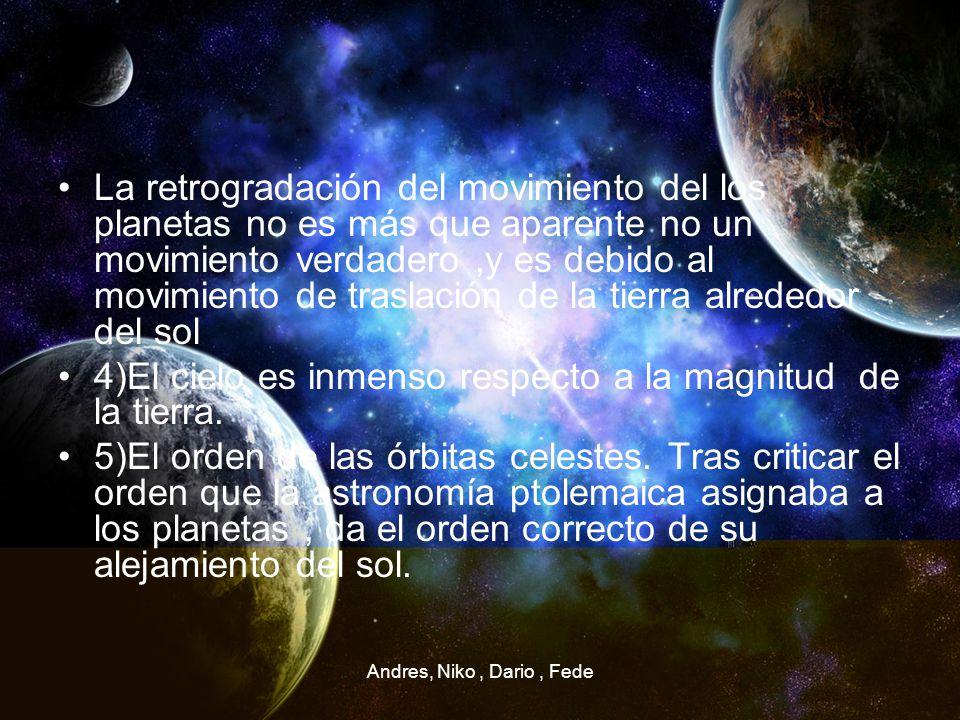 4)El cielo es inmenso respecto a la magnitud de la tierra.