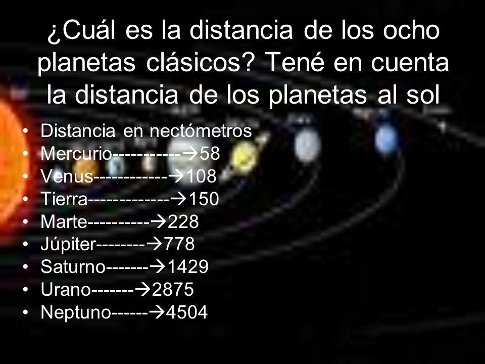 ¿Cuál es la distancia de los ocho planetas clásicos