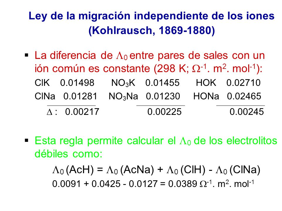 Ley de la migración independiente de los iones (Kohlrausch, 1869-1880)