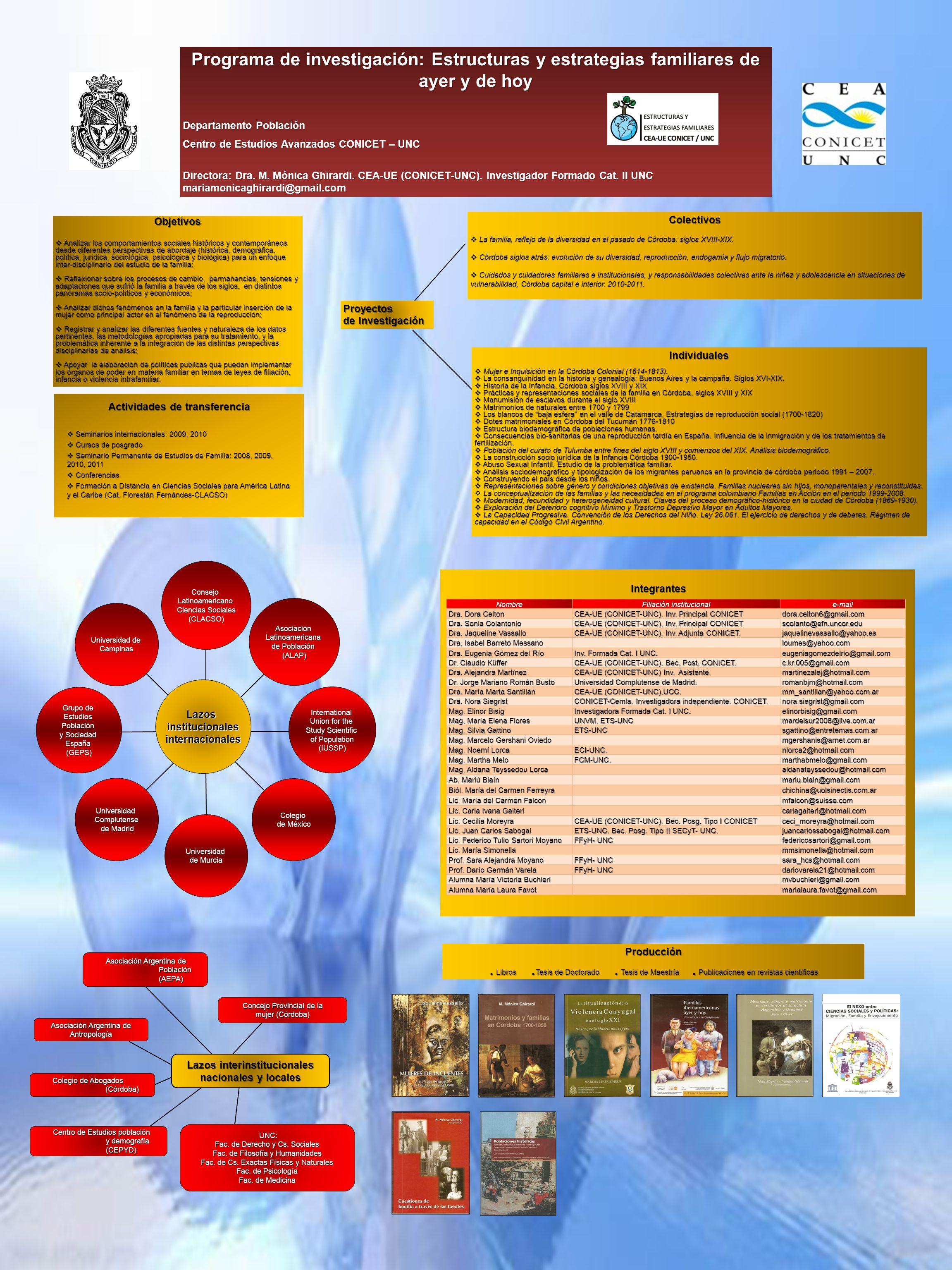 Programa de investigación: Estructuras y estrategias familiares de ayer y de hoy