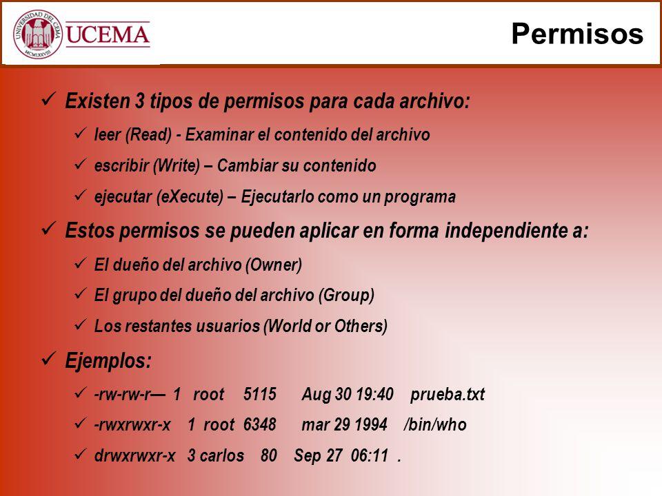 Permisos Existen 3 tipos de permisos para cada archivo: