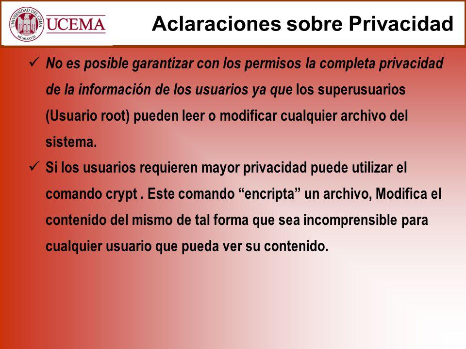 Aclaraciones sobre Privacidad