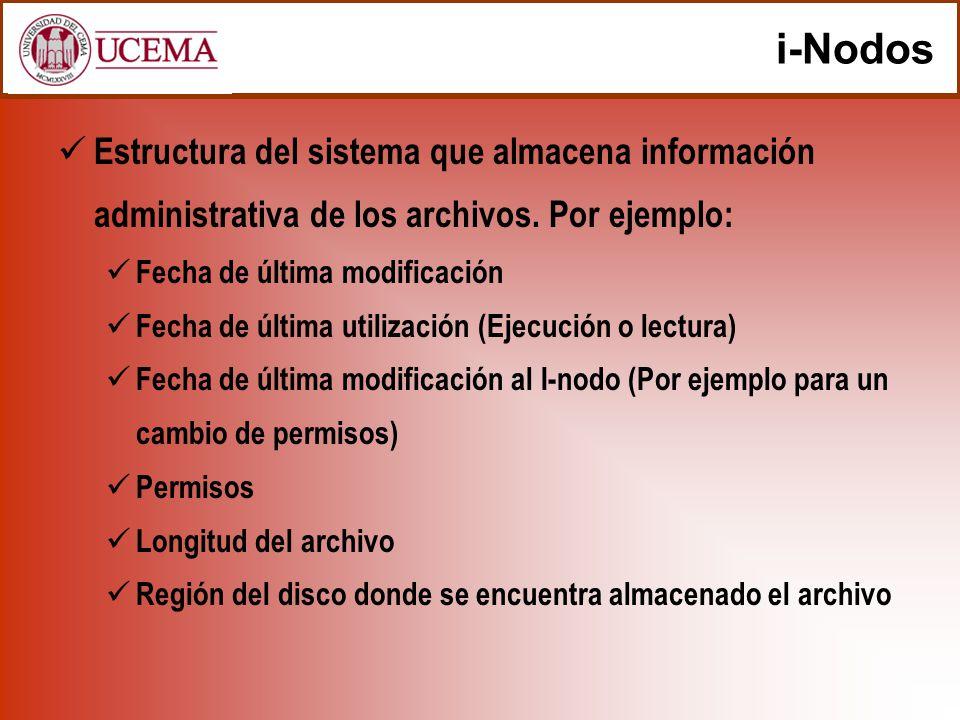 i-Nodos Estructura del sistema que almacena información administrativa de los archivos. Por ejemplo: