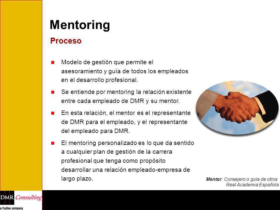 Mentoring Proceso. Modelo de gestión que permite el asesoramiento y guía de todos los empleados en el desarrollo profesional.