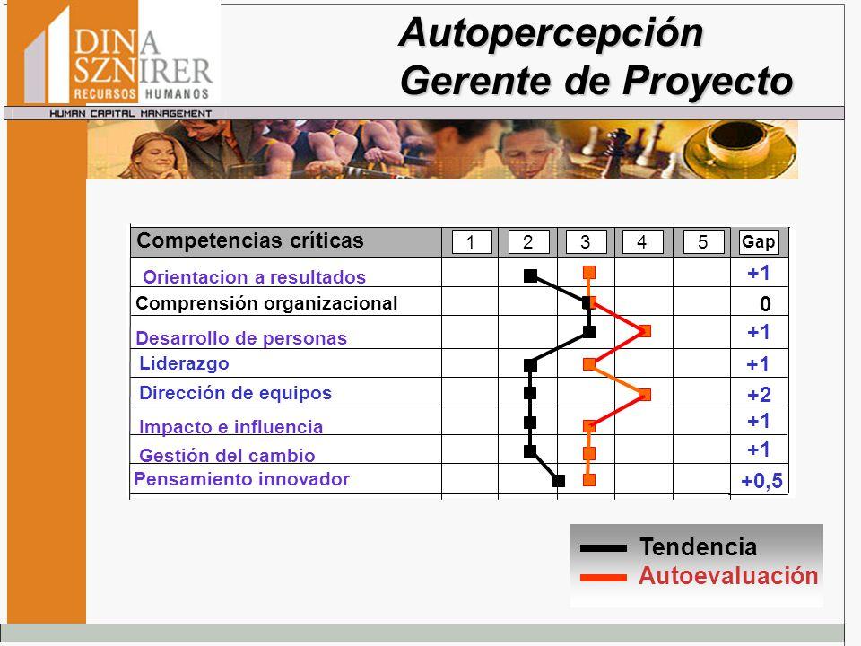 Autopercepción Gerente de Proyecto Tendencia Autoevaluación