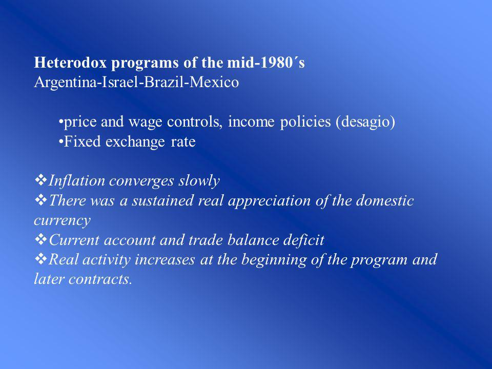 Heterodox programs of the mid-1980´s