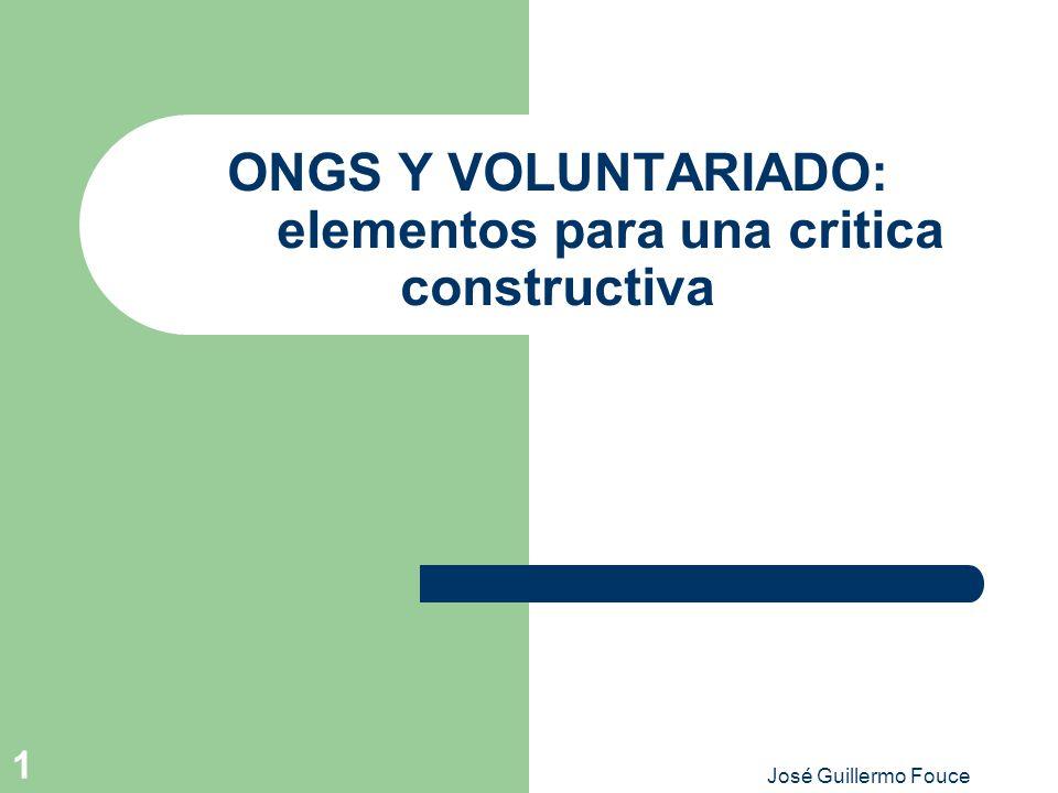 ONGS Y VOLUNTARIADO: elementos para una critica constructiva