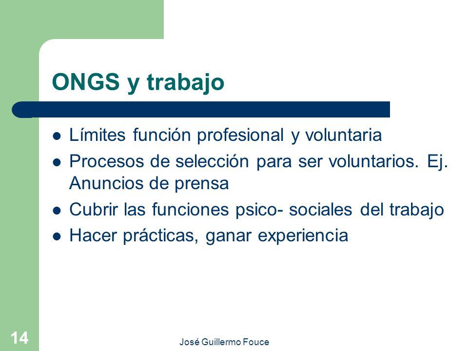 ONGS y trabajo Límites función profesional y voluntaria