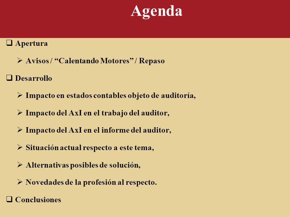 Agenda Apertura Avisos / Calentando Motores / Repaso Desarrollo