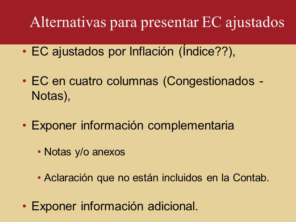Alternativas para presentar EC ajustados