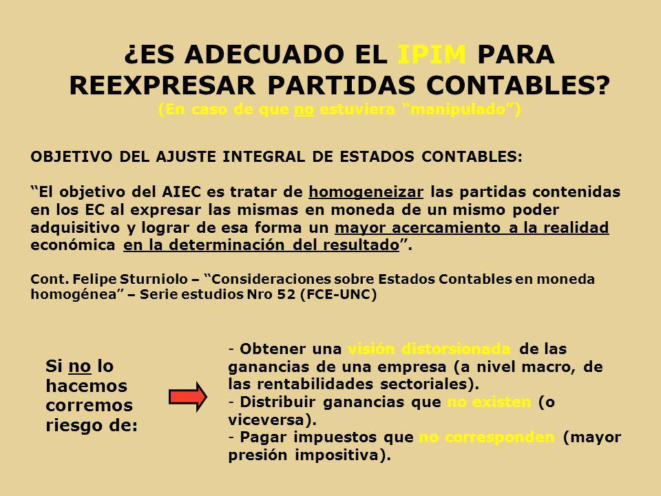 ¿ES ADECUADO EL IPIM PARA REEXPRESAR PARTIDAS CONTABLES