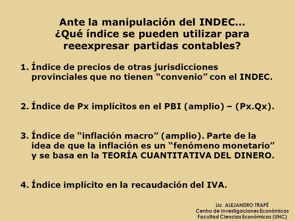 Ante la manipulación del INDEC…