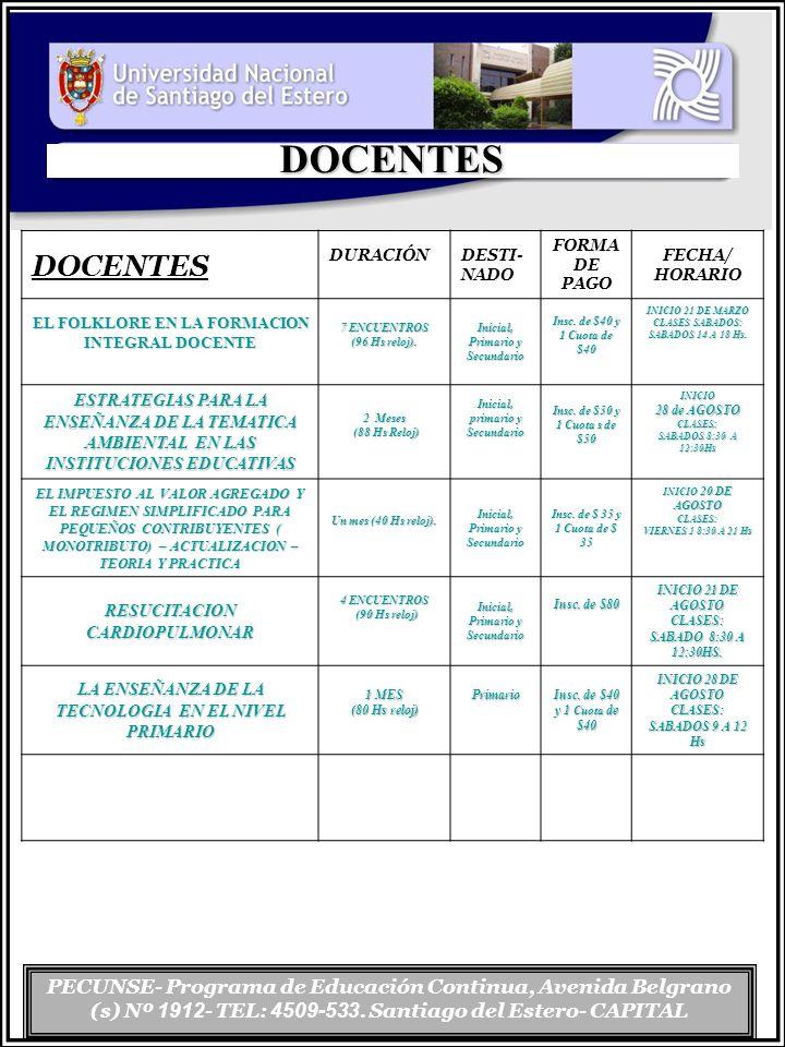 DOCENTES DOCENTES. DURACIÓN. DESTI-NADO. FORMA DE PAGO. FECHA/ HORARIO. EL FOLKLORE EN LA FORMACION INTEGRAL DOCENTE.