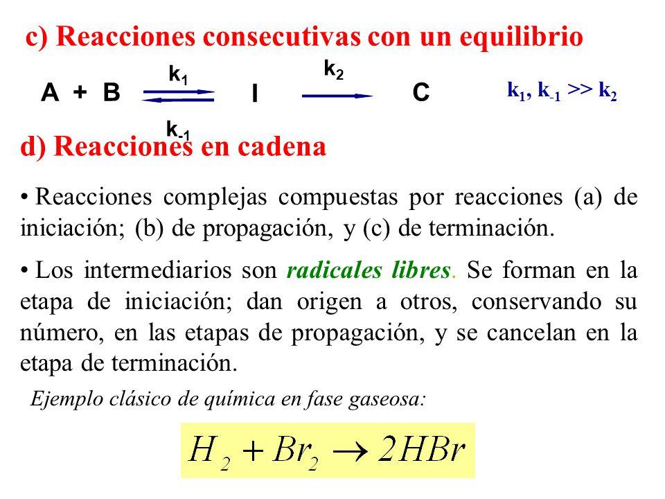 c) Reacciones consecutivas con un equilibrio