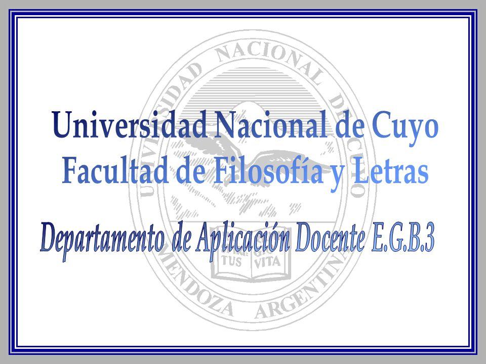 Universidad Nacional de Cuyo Facultad de Filosofía y Letras