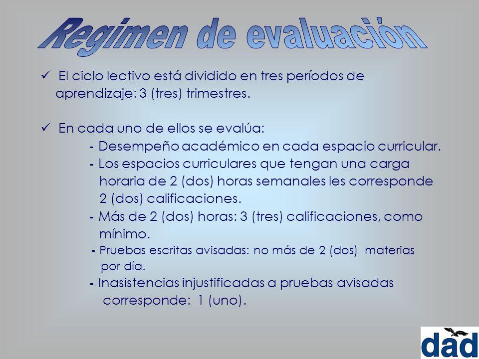 Regimen de evaluación El ciclo lectivo está dividido en tres períodos de. aprendizaje: 3 (tres) trimestres.