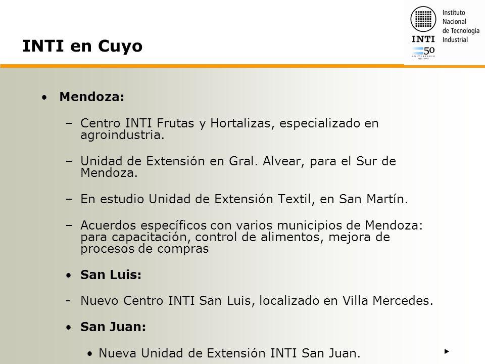 INTI en Cuyo Mendoza: Centro INTI Frutas y Hortalizas, especializado en agroindustria.