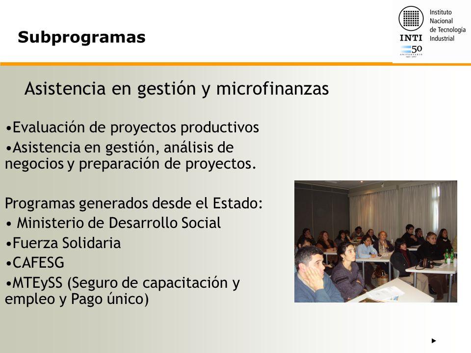 Asistencia en gestión y microfinanzas