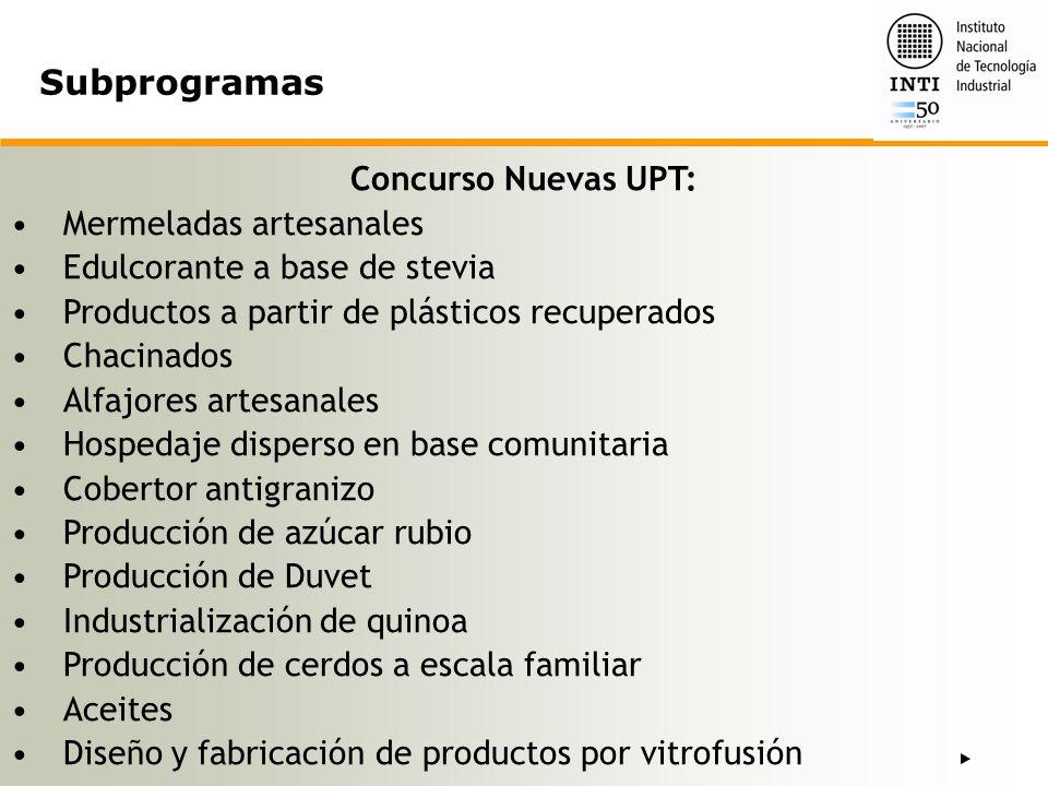 Subprogramas Concurso Nuevas UPT: Mermeladas artesanales
