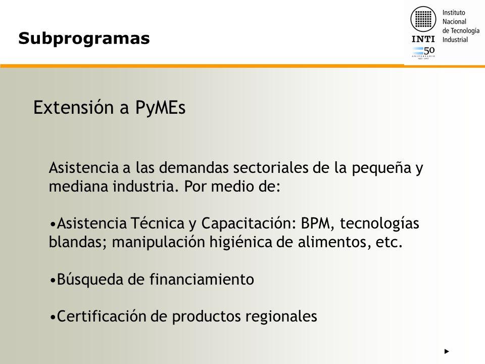 Extensión a PyMEs Subprogramas