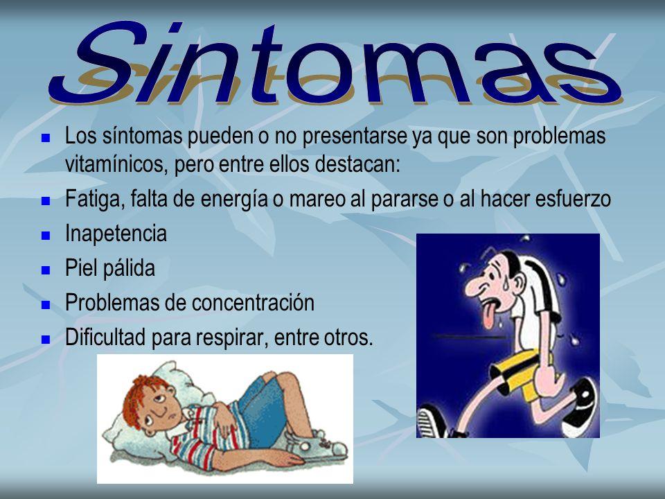 Sintomas Los síntomas pueden o no presentarse ya que son problemas vitamínicos, pero entre ellos destacan: