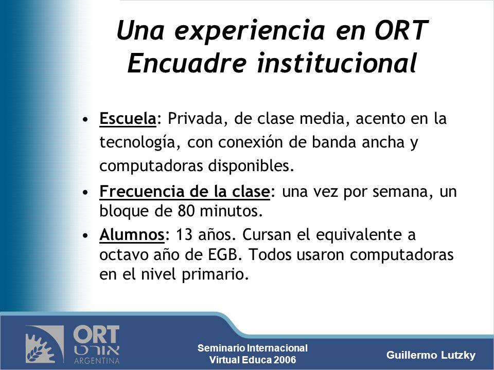 Una experiencia en ORT Encuadre institucional
