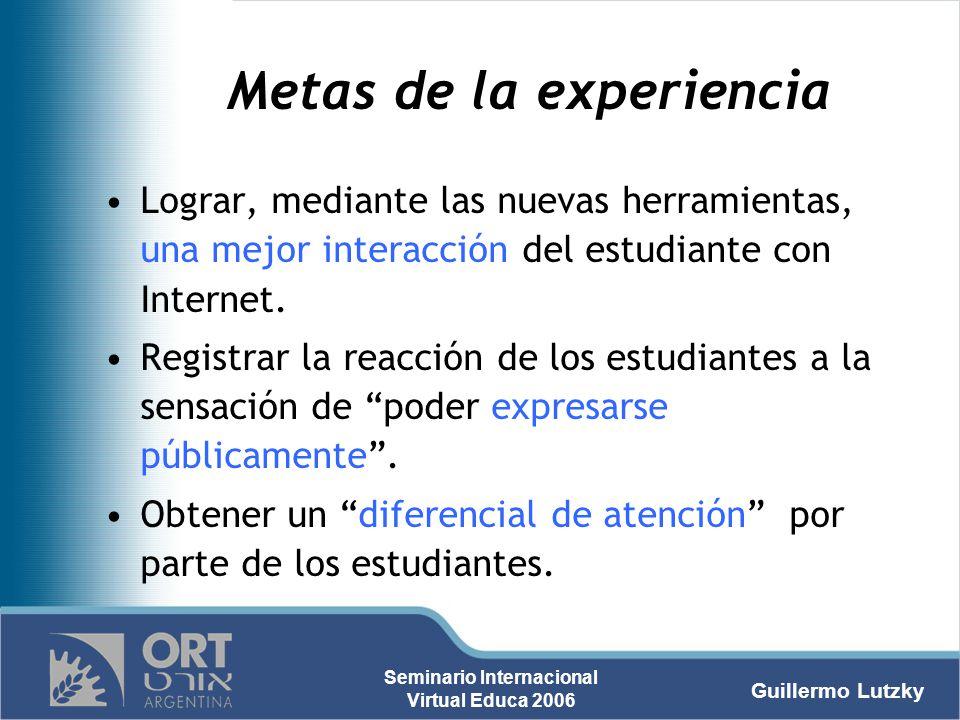 Metas de la experiencia