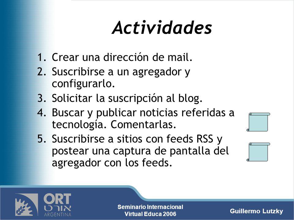 Actividades Crear una dirección de mail.