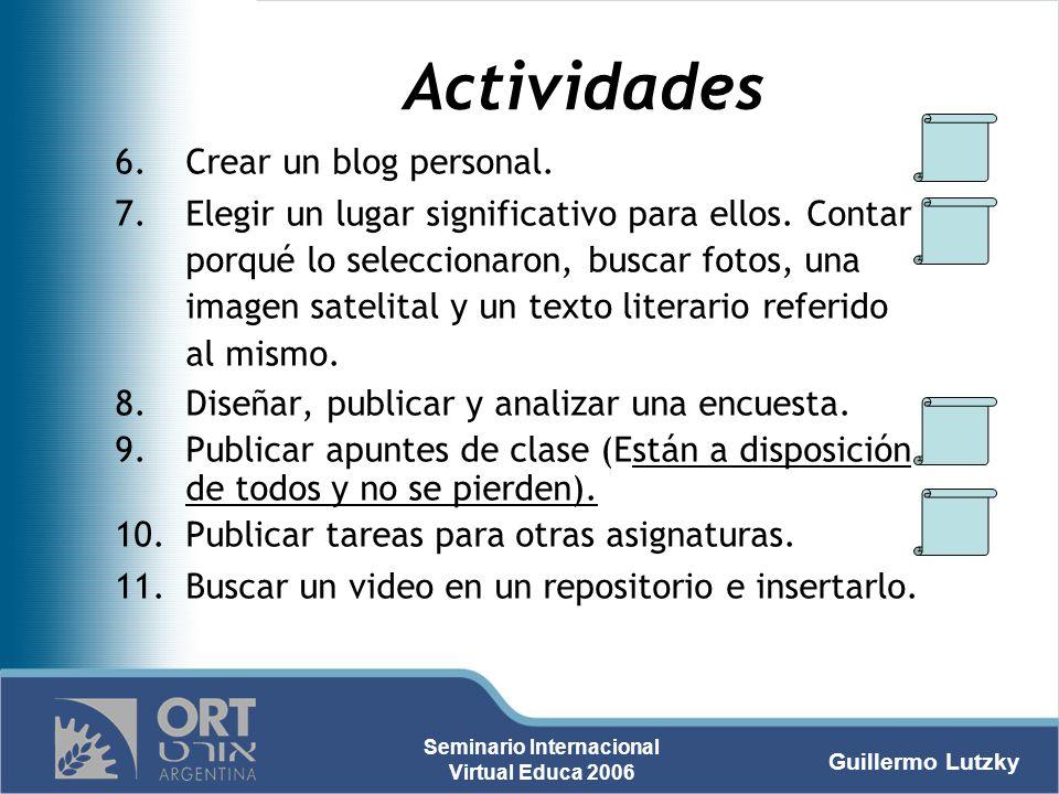 Actividades Crear un blog personal.