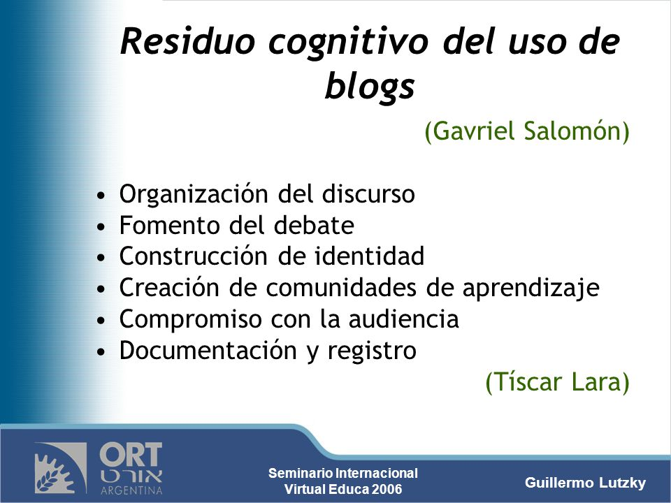 Residuo cognitivo del uso de blogs