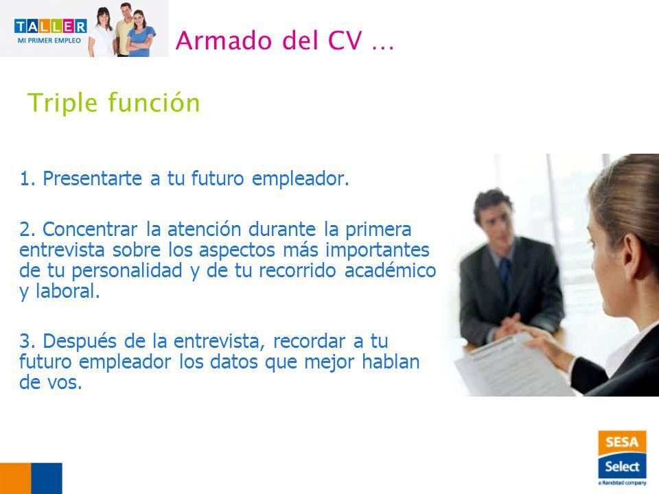 Armado del CV … Triple función 1. Presentarte a tu futuro empleador.