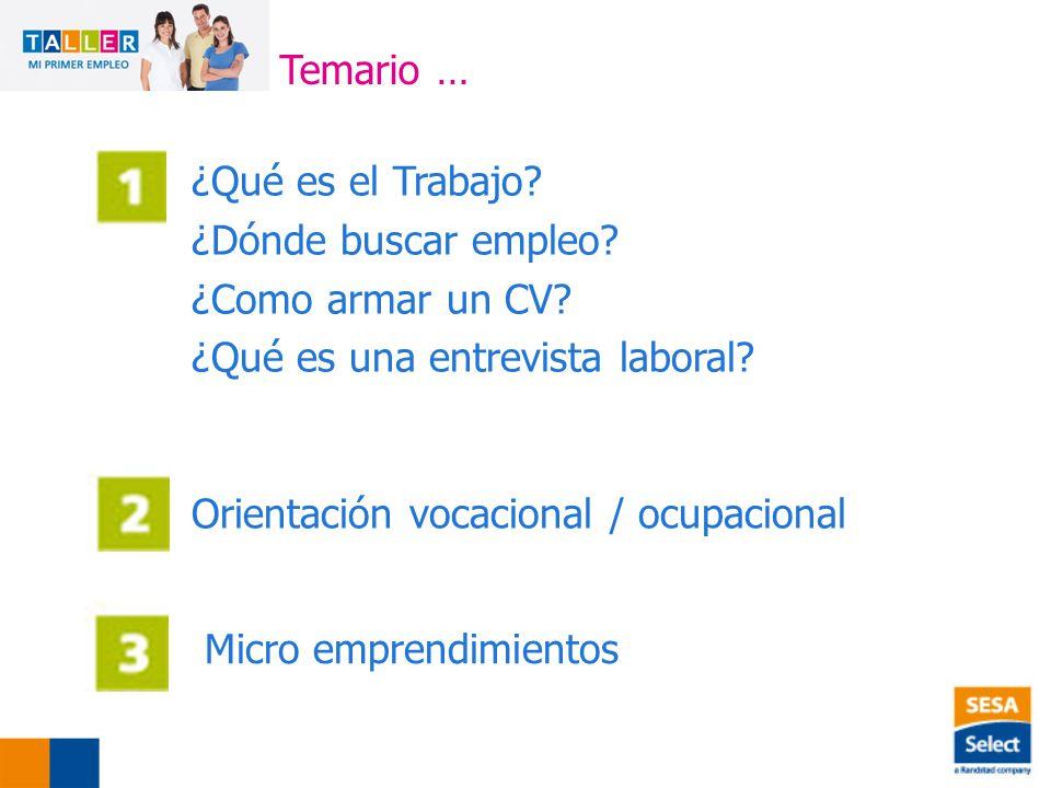 Temario … ¿Qué es el Trabajo ¿Dónde buscar empleo ¿Como armar un CV ¿Qué es una entrevista laboral