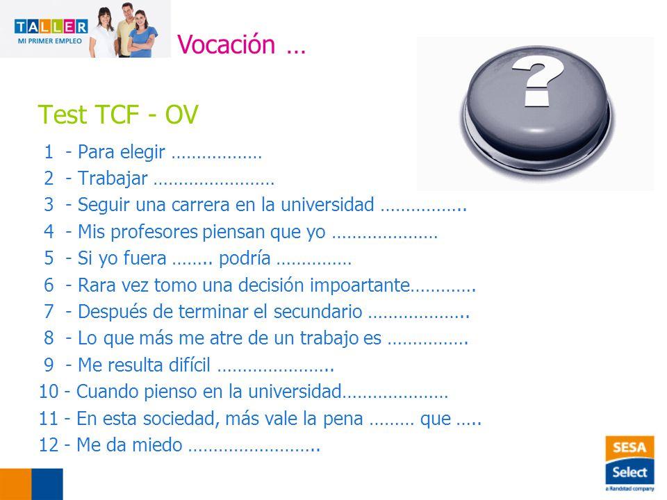 Vocación … Test TCF - OV 1 - Para elegir ……………… 2 - Trabajar ……………………