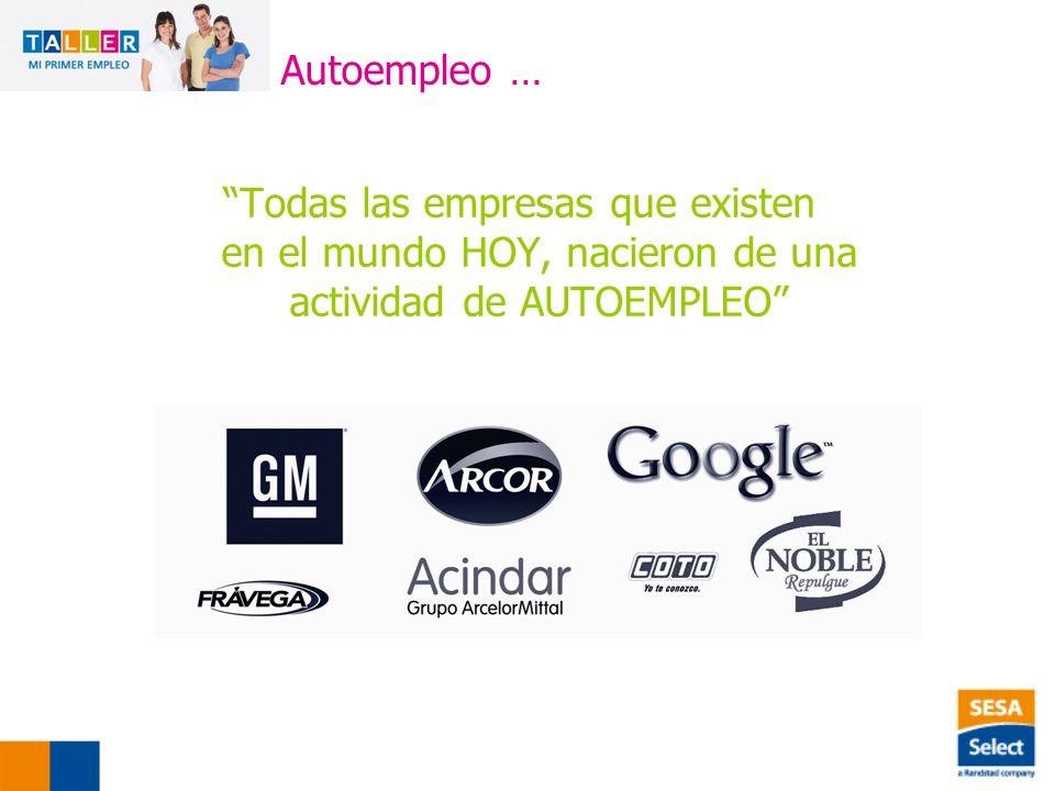 Autoempleo … Todas las empresas que existen en el mundo HOY, nacieron de una actividad de AUTOEMPLEO