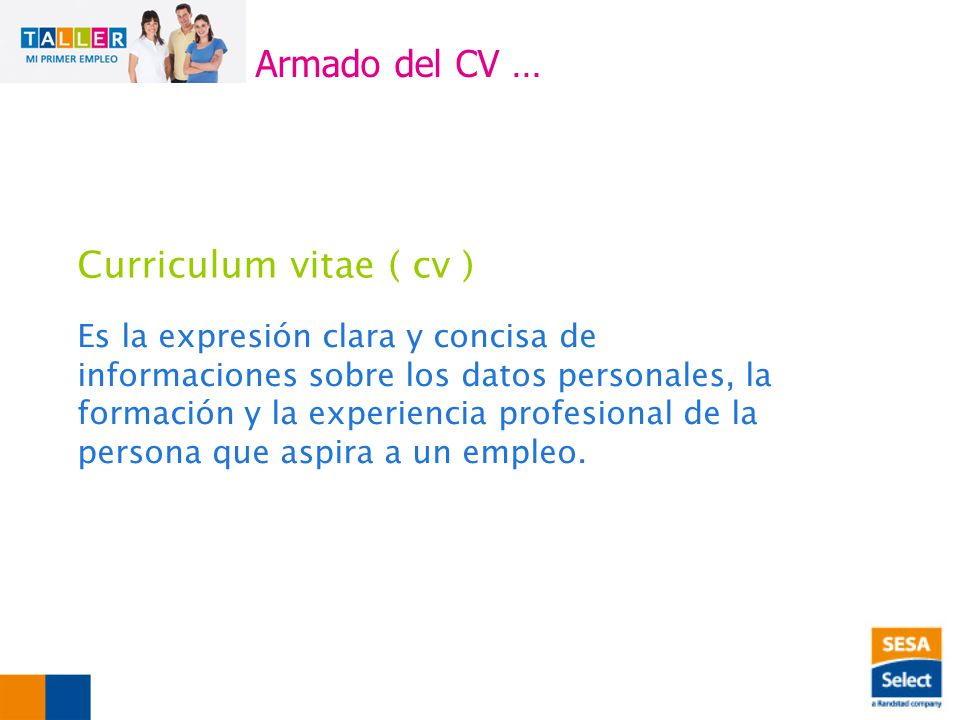Armado del CV … Curriculum vitae ( cv )