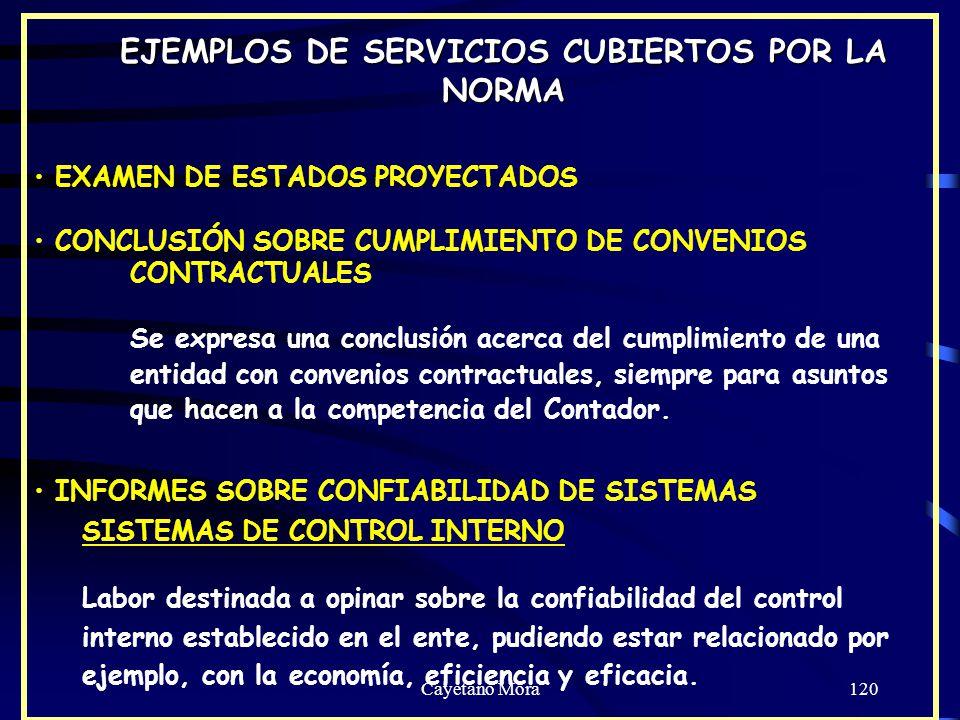 EJEMPLOS DE SERVICIOS CUBIERTOS POR LA NORMA