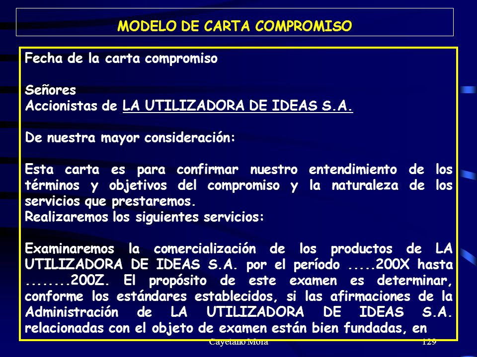 MODELO DE CARTA COMPROMISO