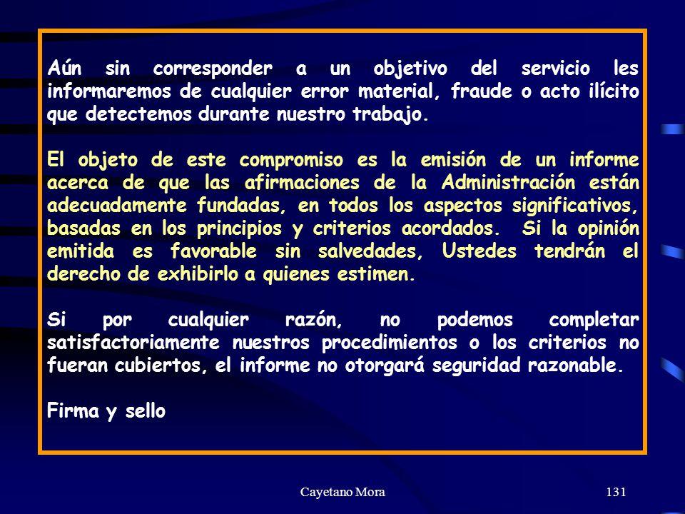 Aún sin corresponder a un objetivo del servicio les informaremos de cualquier error material, fraude o acto ilícito que detectemos durante nuestro trabajo.