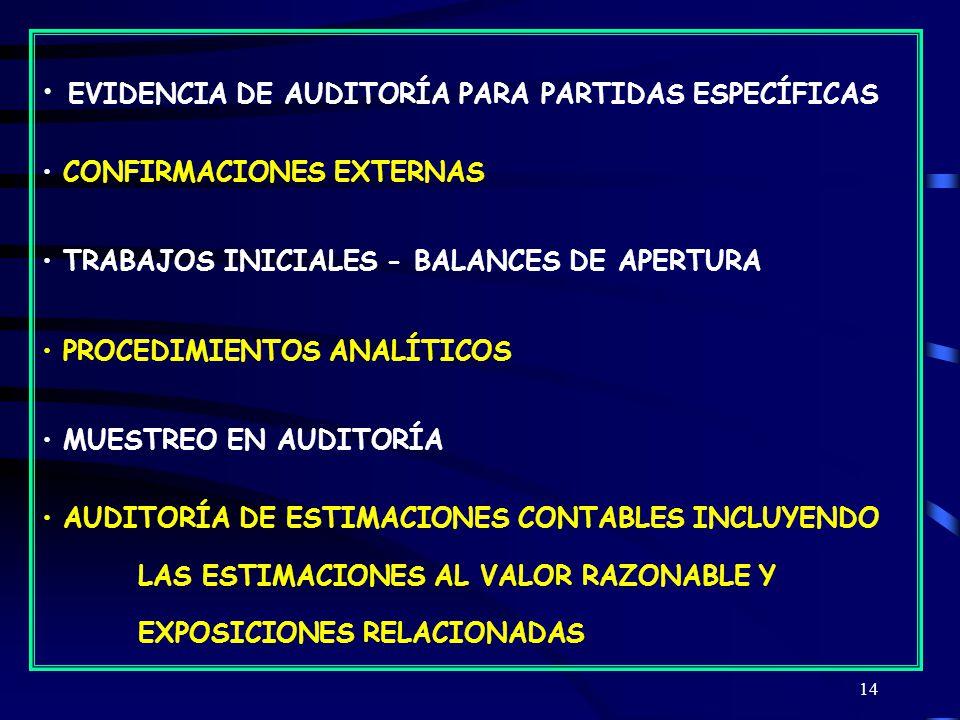 EVIDENCIA DE AUDITORÍA PARA PARTIDAS ESPECÍFICAS