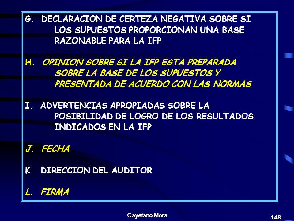 K. DIRECCION DEL AUDITOR L. FIRMA