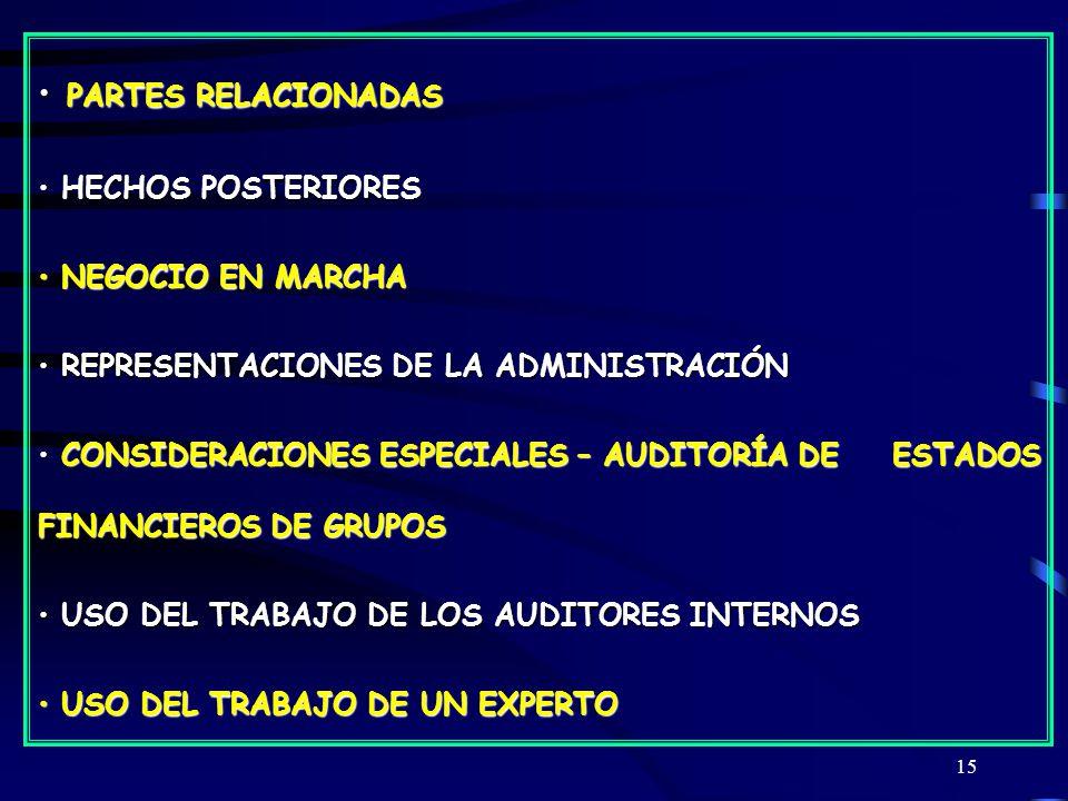 PARTES RELACIONADAS HECHOS POSTERIORES NEGOCIO EN MARCHA