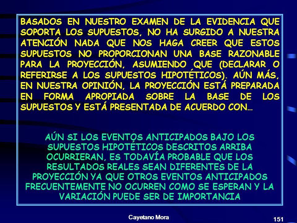 BASADOS EN NUESTRO EXAMEN DE LA EVIDENCIA QUE SOPORTA LOS SUPUESTOS, NO HA SURGIDO A NUESTRA ATENCIÓN NADA QUE NOS HAGA CREER QUE ESTOS SUPUESTOS NO PROPORCIONAN UNA BASE RAZONABLE PARA LA PROYECCIÓN, ASUMIENDO QUE (DECLARAR O REFERIRSE A LOS SUPUESTOS HIPOTÉTICOS). AÚN MÁS, EN NUESTRA OPINIÓN, LA PROYECCIÓN ESTÁ PREPARADA EN FORMA APROPIADA SOBRE LA BASE DE LOS SUPUESTOS Y ESTÁ PRESENTADA DE ACUERDO CON…