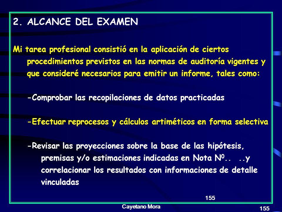 ALCANCE DEL EXAMEN
